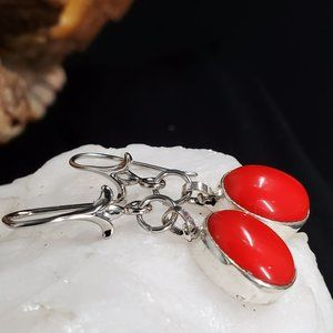 Handmade Jewelry - #GIFT Natural Red Stone Petite Silver Earrings